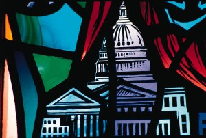stained glass window of DC