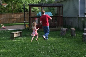 Playing tag in the mosquito-free backyard