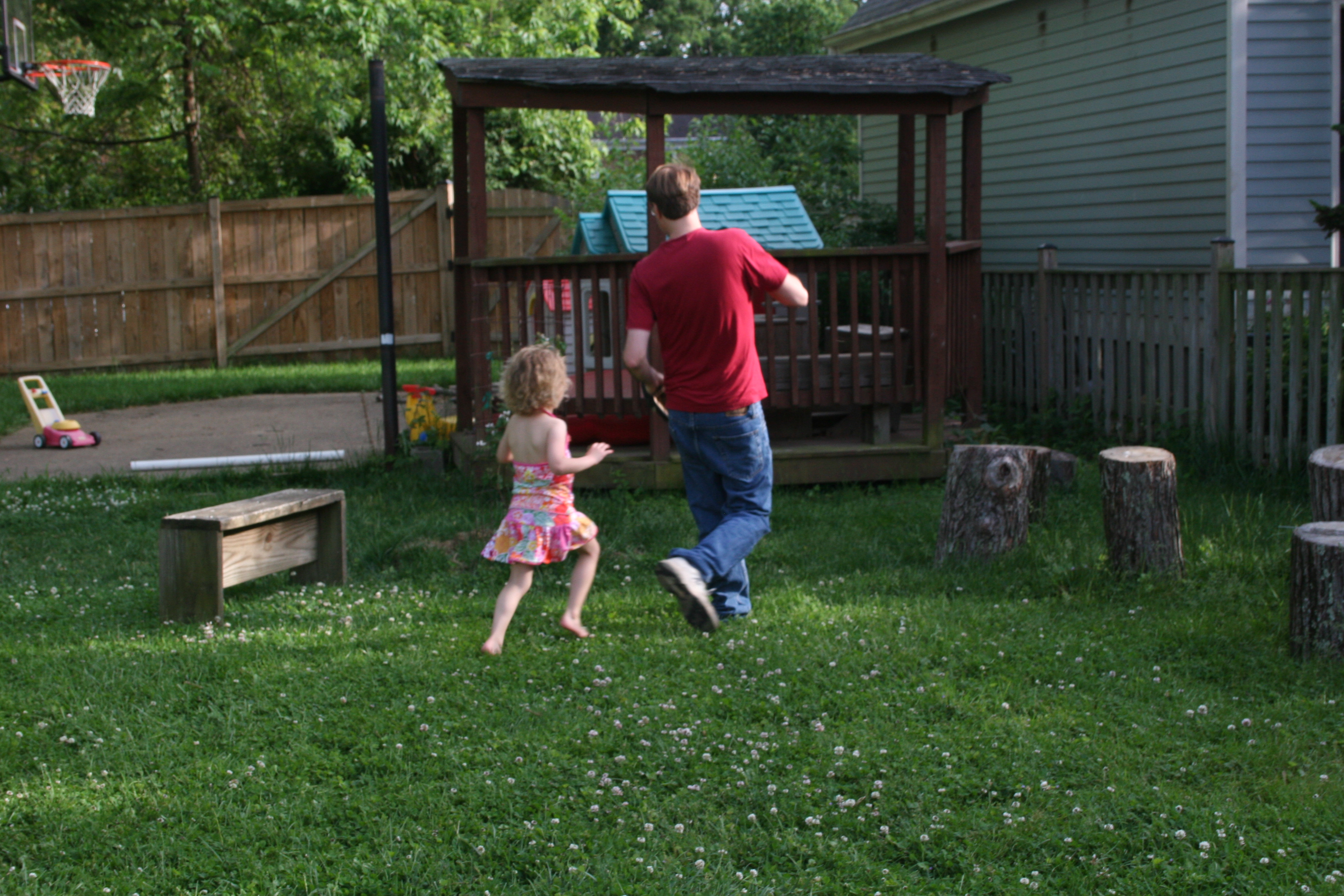 Playing Tag In The Mosquito Free Backyard