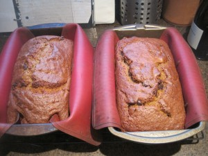 Two loaves of pumpkin bread