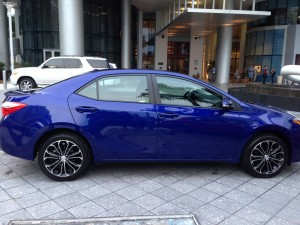 The new Corolla S is surprisingly sporty and that cobalt blue is beautiful.