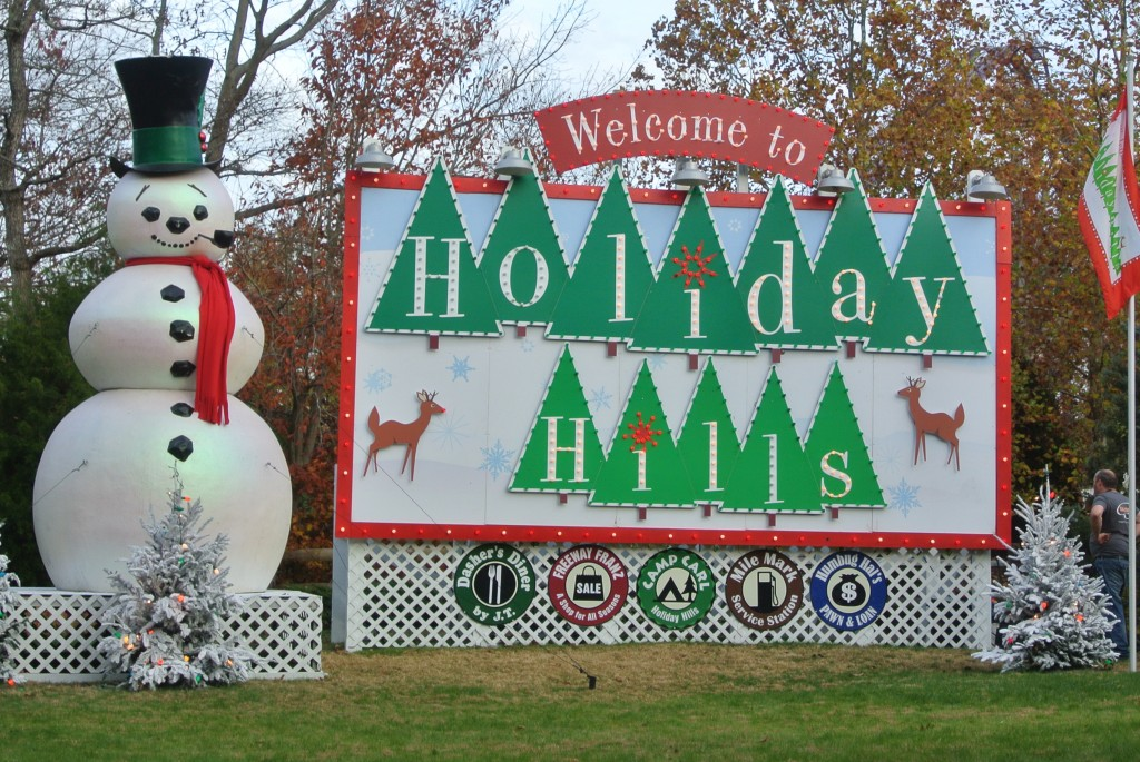 Photo from Busch Gardens Christmas Town in Williamsburg of Holiday Hills Sign with snowman