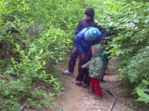Washington Waldorf School outdoor Sun Garden program - rainy hike
