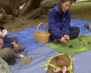 Washington Waldorf School outdoor Sun Garden program - story time